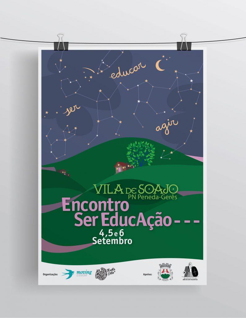 Cartaz I Encontro SER EDUCAÇÃO. 4, 5 e 6 de Setembro de 2015, Soajo, Arcos de Valdevez. Design: Nuria Barreiras